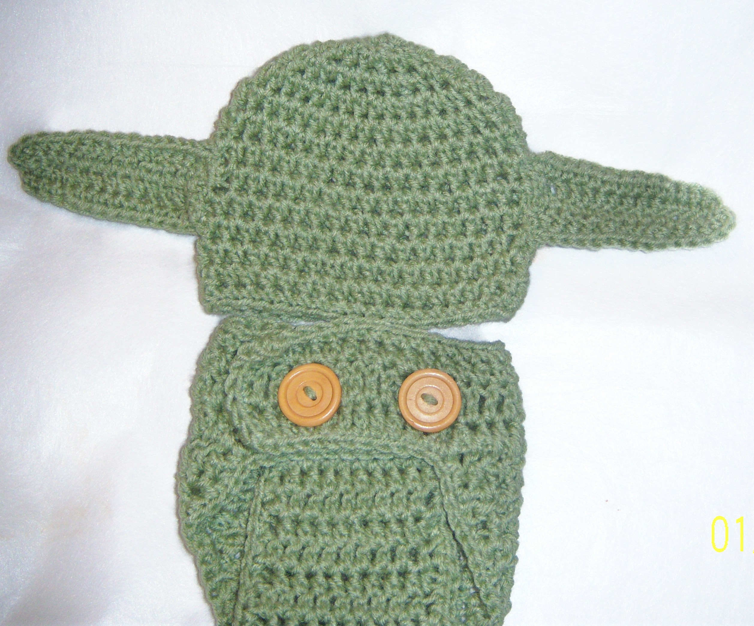 Newborn 3months Star Wars Inspired Yoda Baby Hat And Diaper Cover